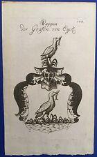 Original Kupferstich Wappen GRAFEN VON EYCK,  Johann Seyfart 1773, Heraldik