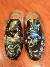 Authentic Gucci Princetown Fur Lined Floral Print Leather Mule Size 37.5