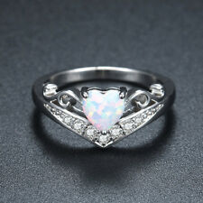 Heart Cut White Fire Opal Engagement Ring 925 Silver Womens Zircon Wedding Band