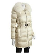 PRADA White Fox Fur Trim Down Jacket with Logo Chrome Belt (retail £1,250)