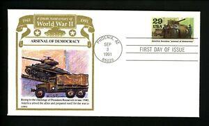 "US WW II FDC #2559e Gold Trim ""Panda Cachet"" America - Arsenal of Democracy"