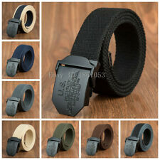 Mens Canvas Belt Waist Belts Cotton Webbing Adjustable US Black Buckle Plus Size