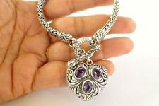 Purple Amethyst Heart Balinese Dangle Drop Sterling Silver Chain Toggle Bracelet