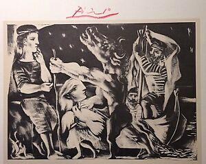 PABLO PICASSO HAND SIGNED* BLIND MINOTAUR LED THOUGH NIGHT BY GIRL * PRINT