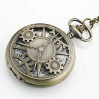 Men's Bronze Steampunk Gears Pocket Watch Quartz Chain Necklace Vintage Gift New