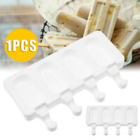 Silicone Frozen Ice Cream Mold Juice Popsicle Maker Ice Lolly Mould 4 Cell US