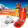8pcs Camping Cooking Utensils Outdoor Set Kitchen Cookware Gear + Storage Bag