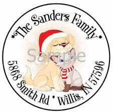 Christmas Puppy Dog Amp Kitty Cat Round Address Labels Multi Options