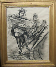 FRANK G HOWES 1958  CAN CAN DANCERS MODERN BRITISH ART PAINTING DRAWING  DEGAS