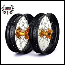 "Suzuki RMZ 250 2007-2015 RMZ 450 2005-2015 Supermoto Wheels set 17"" supermotard"