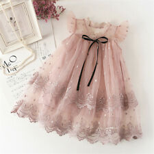 Flower Girl Kids Lace Pink Princess Tutu Dress Tulle Party Baby Summer Clothes