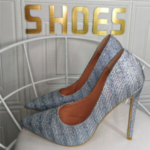 Womens Sexy Sequin Striped Pointed Toe Pumps Stilettos High Heels Clubwear Shoes