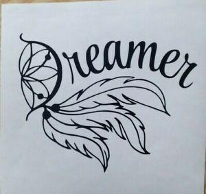 1x Dreamer Feather Vinyl Sticker Decal Car Camper Van Bumper 5x4inch Black