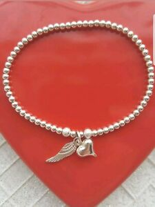 silver plated ball bead heart & angel wing charm stretchy stacking bracelet gift