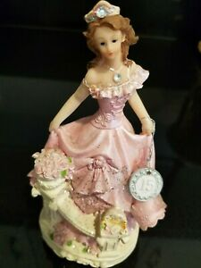 Quinceanera Cake Topper Figure Princess Pink Dress on Stairs