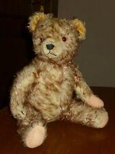 alter Teddy-40cm groß-60iger Jahre-gespritzter Mohair-braun/beige-guter Zustand