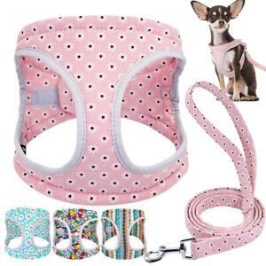 Reflective Dog Harness and Leash Set Padded Small Medium Dogs Bulldog Pink Blue