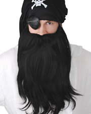 Black Pirate Beard And Moustache One Size