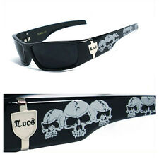LOCS Mens Cholo OC Style Motorcycle Biker Shades Sunglasses - Black Skull LC55
