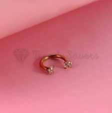 1x Surgical Steel Helix Cartilage Dimond Cut Gold Horseshoe Ear Nose Lip Ring