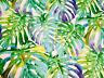 TROPICAL LEAVES Palm Leaf Fabric Curtain Cotton Material 140cm wide Purple Green