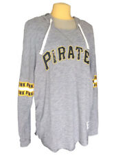 MLB Pirates Pittsburgh Victoria's Secret PINK Sequin L/S Hoodie Pullover Lg NWT