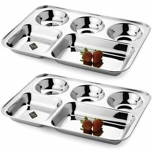 Stainless Steel Dining Round Square Divide Dinner Plate 5 in 1, Silver, Set of 2
