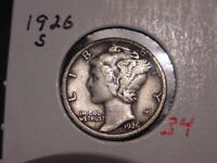 1926-S MERCURY DIME VF EARLY BETTER DATE NICE! COMBINED SHIPPING