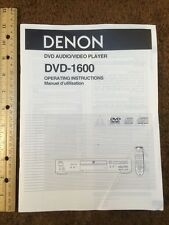 Denon DVD-1600 Original Owners Manual 25 English Pages