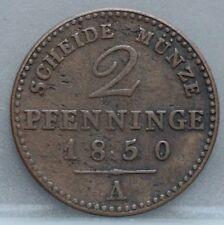 German States Duitsland -  2 Pfenninge pfennig 1850 A  Preußen Pruisen  KM# 452