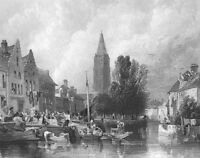 Bruges Gothic NOTRE DAME CATHEDRAL CHURCH OF OUR LADY ~ 1865 Art Print Engraving