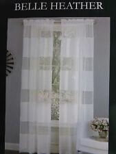 "New 2 Laura Ashley Belle Heather Window Drape Panels 80"" x 96"" White NIP"