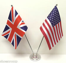 Union Jack GB & USA America Friendship Flags Chrome & Satin Table Desk Flag Set