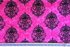 Gothic Damask Skull Fuchsia -Fabric By The Yard- Horror, Flowers, Floral, Pink,