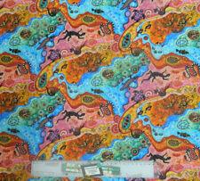 Patchwork Quilting Sewing Fabric ABORIGINAL DILKARA BRIGHT Material 50x55cm F...