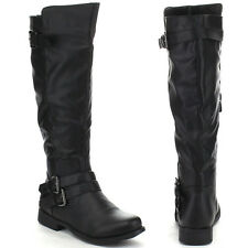 NEW KNEE HIGH RIDDING WOMAN BOOT FLAT HEEL COMBAT BUCKLE & ZIPPER GIRL SEXY SHOE