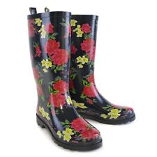 Ladies Navy with Floral Print Tall Wellies / Wellington Boots UK 4 - 8