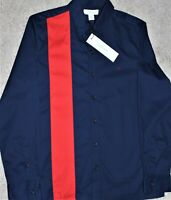 NWT $80 Calvin Klein Button Down Shirt Mens Navy Blue Red Stripe on one side XS