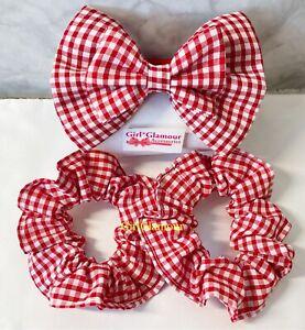 School Red Gingham Bow Bobbles Scrunchies Hairband Hair Elastic Tie Band Uniform