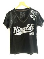 RIVALDI Designer embroidered Black short sleeved t-shirt top UK 10 12 EU 38 40
