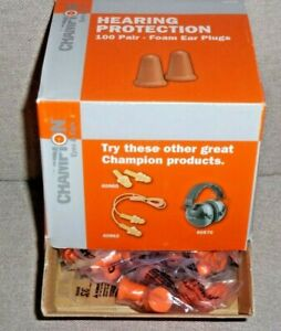Champion Molded Foam Ear Plugs, Hearing Protection, 100 Pair w/Display Box 40959