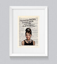 Audrey HEPBURN essere felice godersi la vita preventivo VINTAGE Dizionario Libro Stampa Wall Art