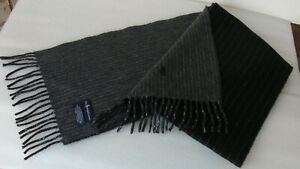 Polo Ralph Lauren Men's Scarf Reversible STRIPE Black/Gray LAMBS WOOL New ~Italy