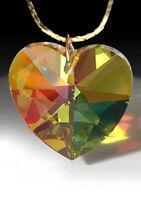 Heart 8781 28mm Strass Swarovski Amber Lt Topaz AB Prism Pendant LOGO 1-1/8 inch