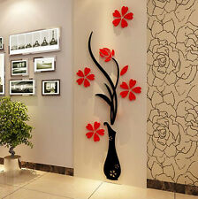 3D RED Flower Mirror Wall Decals Stickers Art DIY Home Room Vinyl Decor H0S