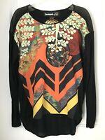 Desigual ~ Women's Size Large  Long Sleeve  Black /Multicolor Top Shirt