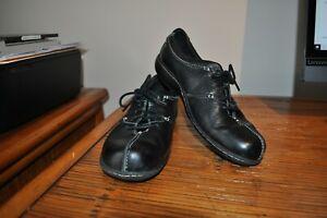 Clarks Bendables 9.5M Black Beals Oxford Shoes Lace Up Leather 80646 GUC