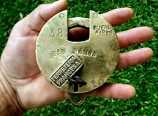 Vintage Antique Brass Rare Padlock Working