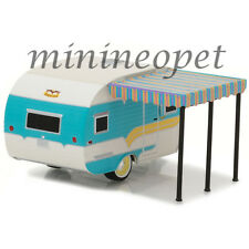 GREENLIGHT 34010 A 1958 CATOLAC DEVILLE TRAVEL TRAILER 1/64 DIECAST WHITE / TEAL