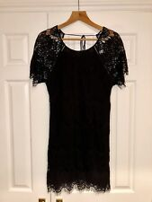 Zara Woman Denim Collection Dress Delicate Black Lace Size Small Top Open Back